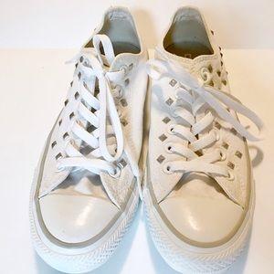 White converse silver studs size 8 women